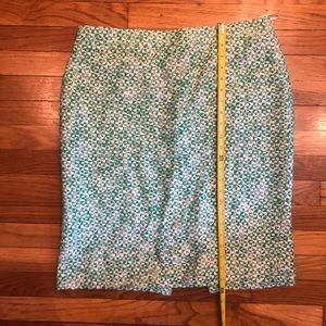 J crew green white woven no. 2 pencil skirt